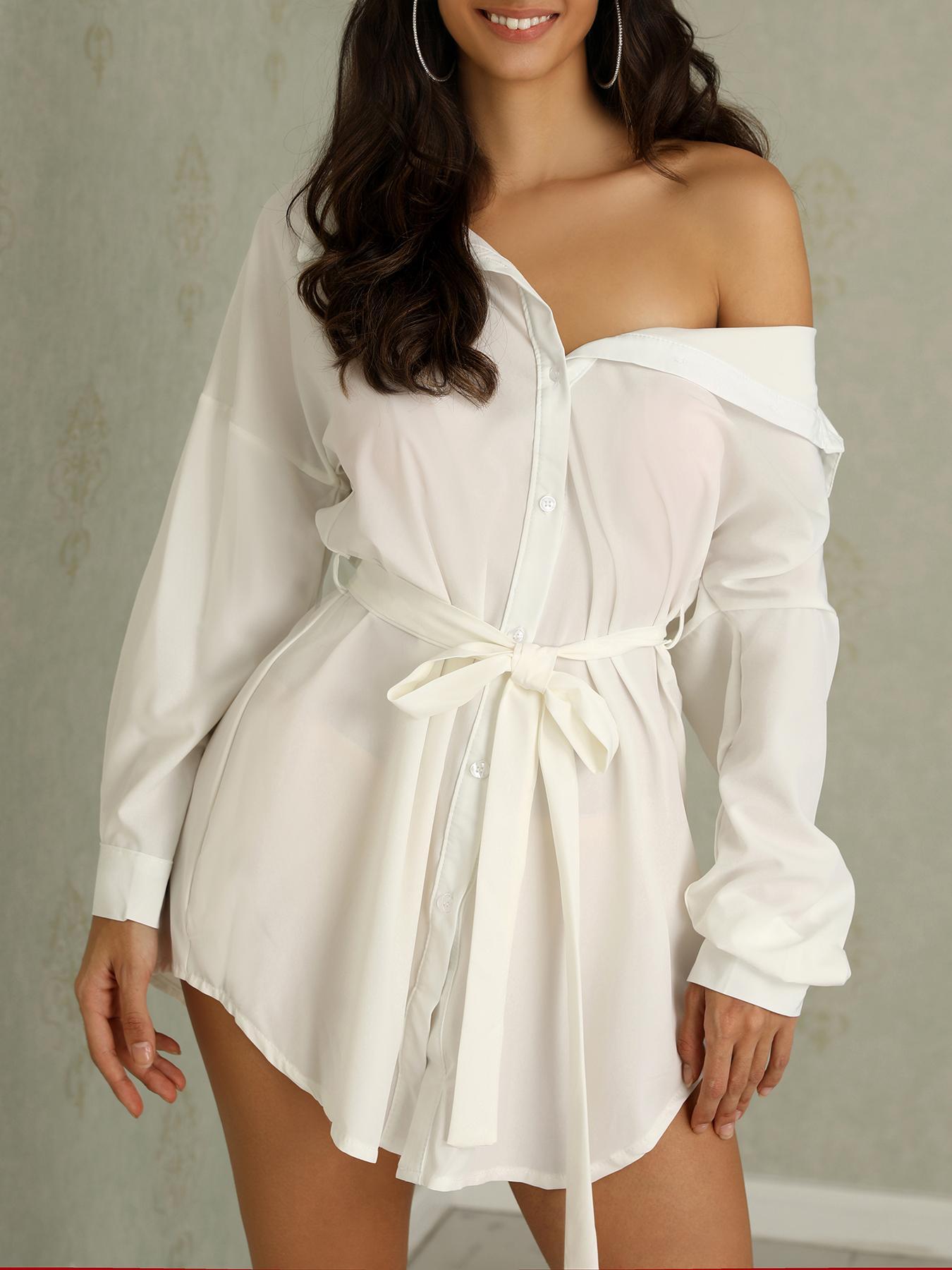 boutiquefeel / Vestido de camisa con dobladillo curvo con hombros
