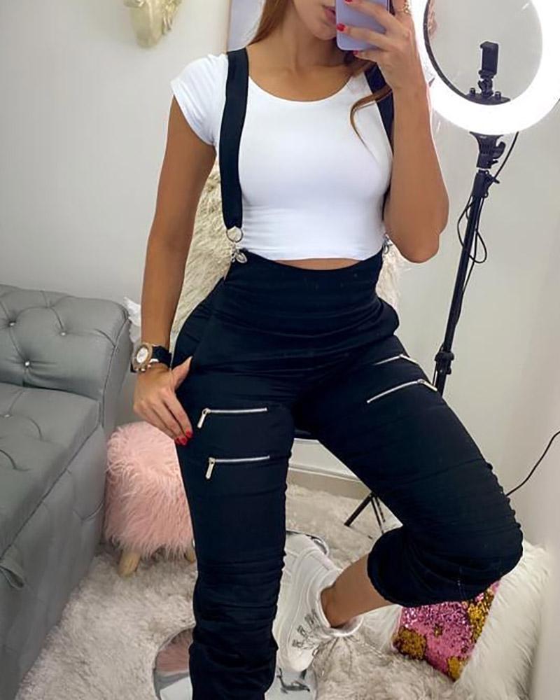 chicme / Pantalones de tirantes sólidos con diseño de bolsillo con cremallera