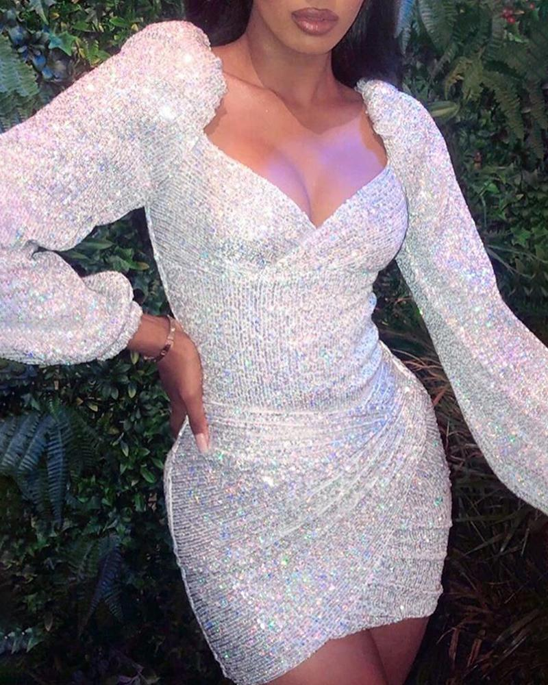 Glitter Puff Sleeve Ruched Sequins Bodycon Dress фото