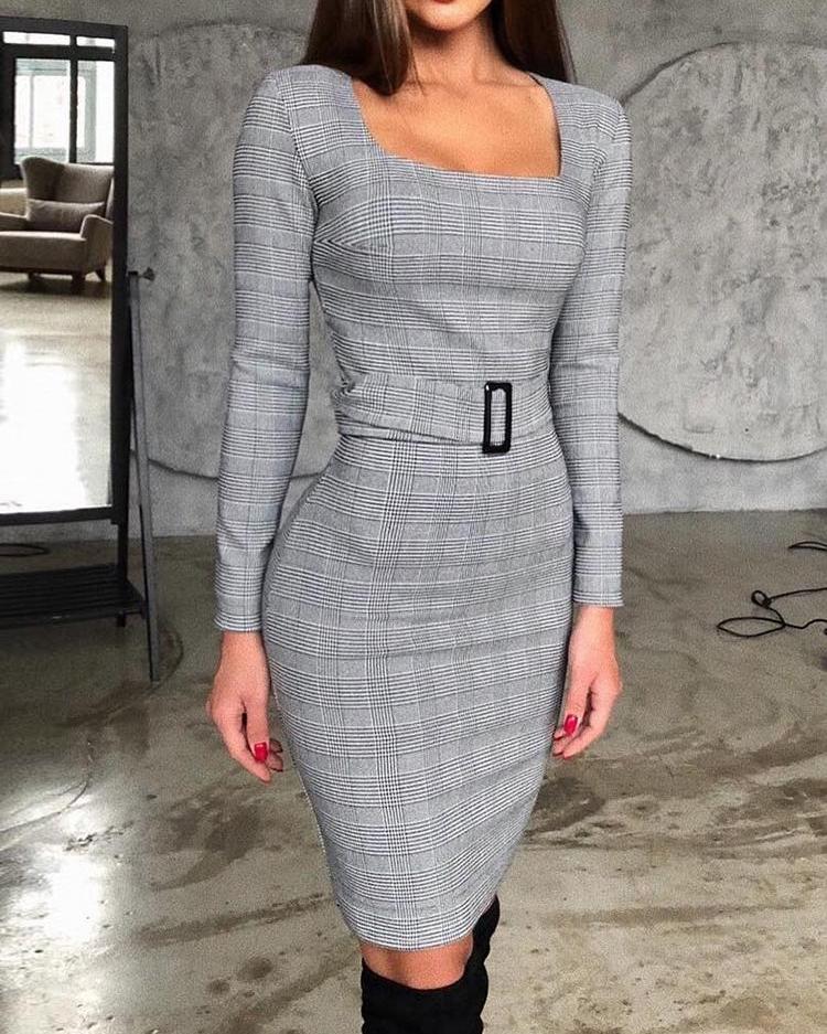 chicme / Vestido de manga comprida com cinto quadrado