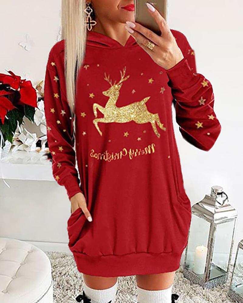 joyshoetique / Christmas Moose Letter Print Dress