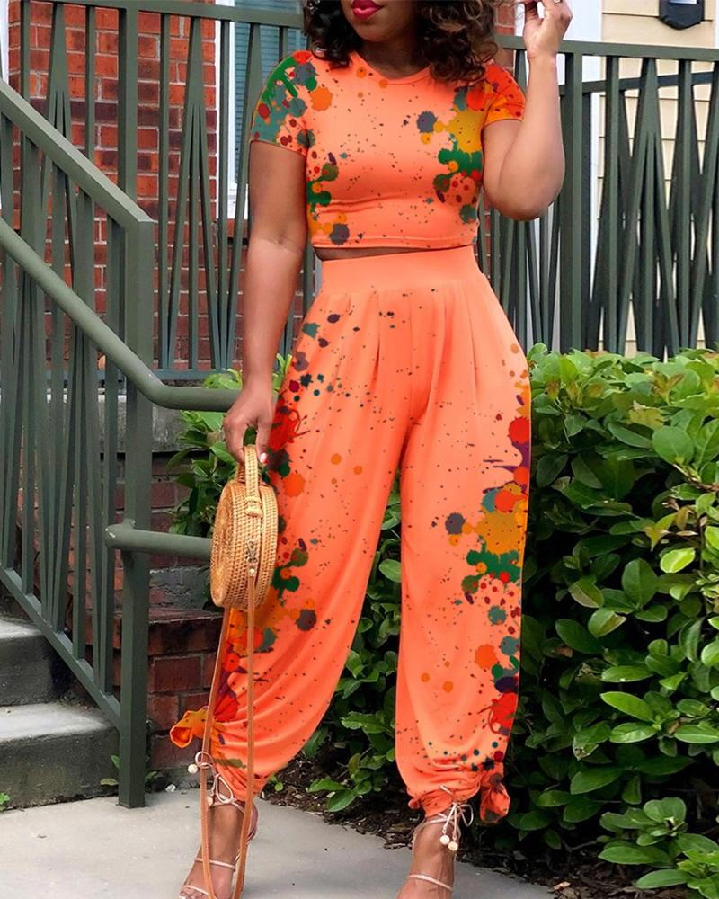 Image of Ink Splash Print Short Sleeve T-shirts With Loose Pants Suit Sets