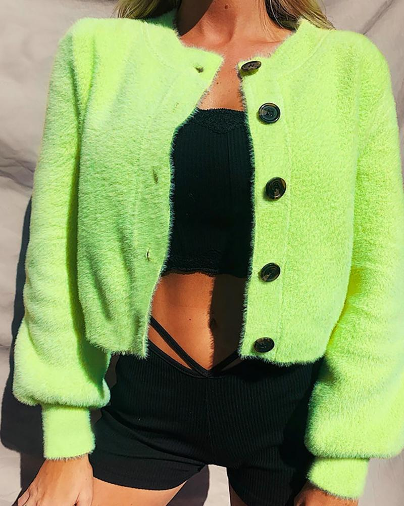 Button Design Fluffy Long Sleeve Knit Top фото