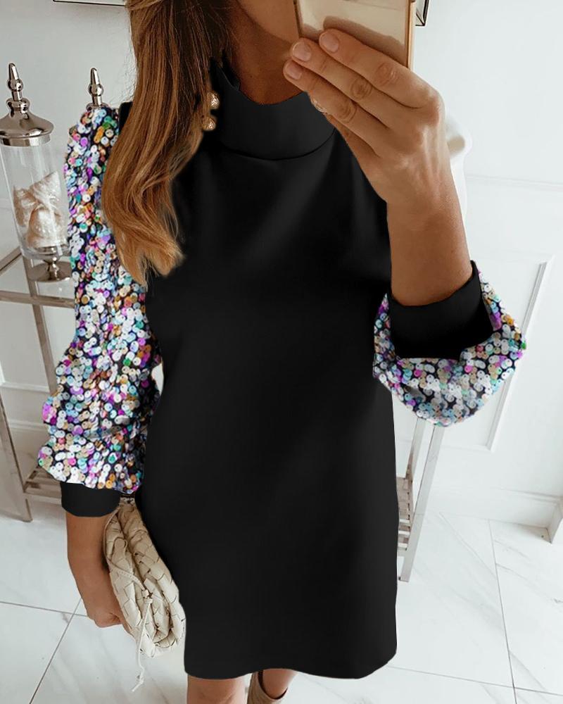 chicme / Vestido de lentejuelas con manga linterna y cuello simulado de color block