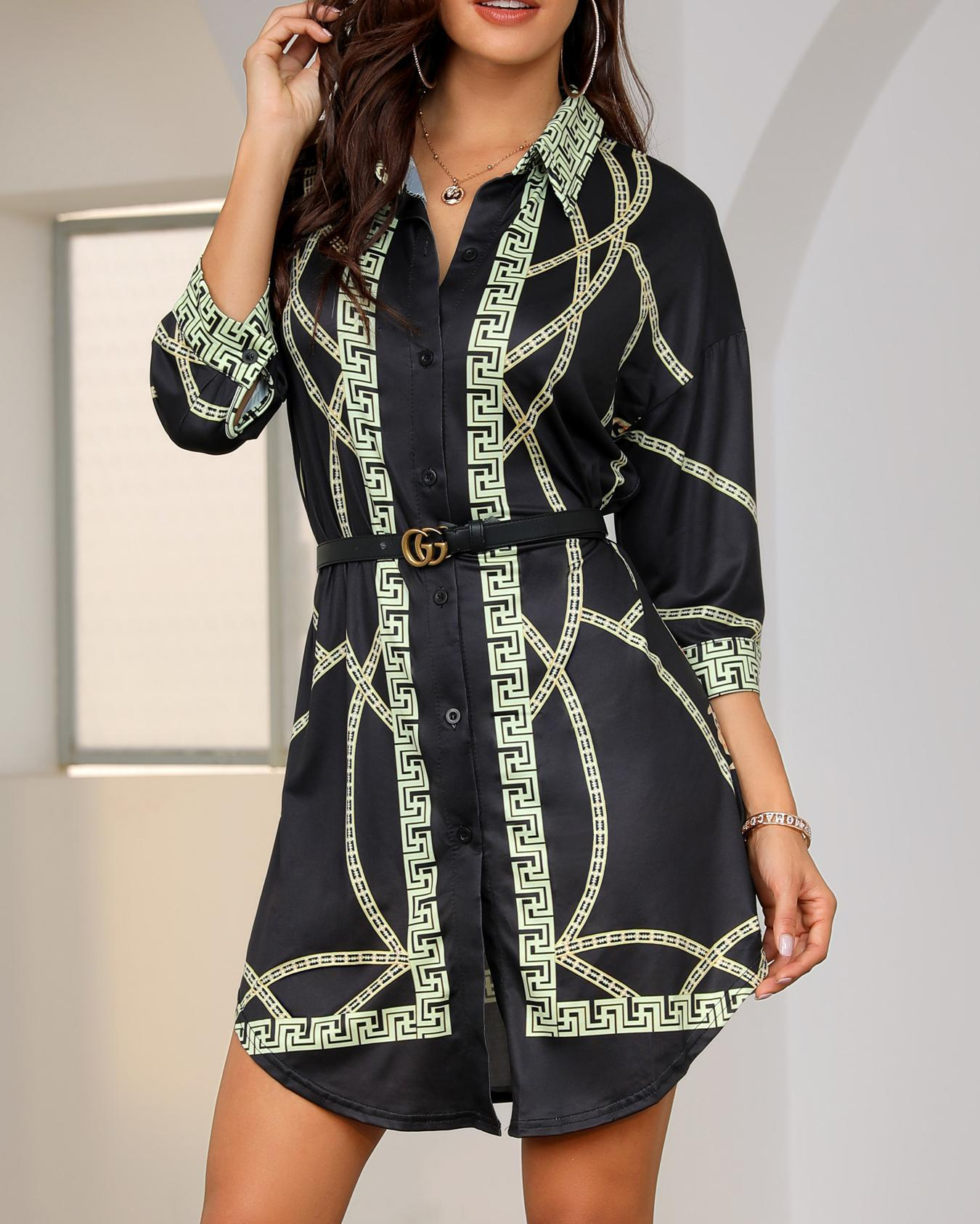 Long Sleeve Chain Print Shirt Dress фото