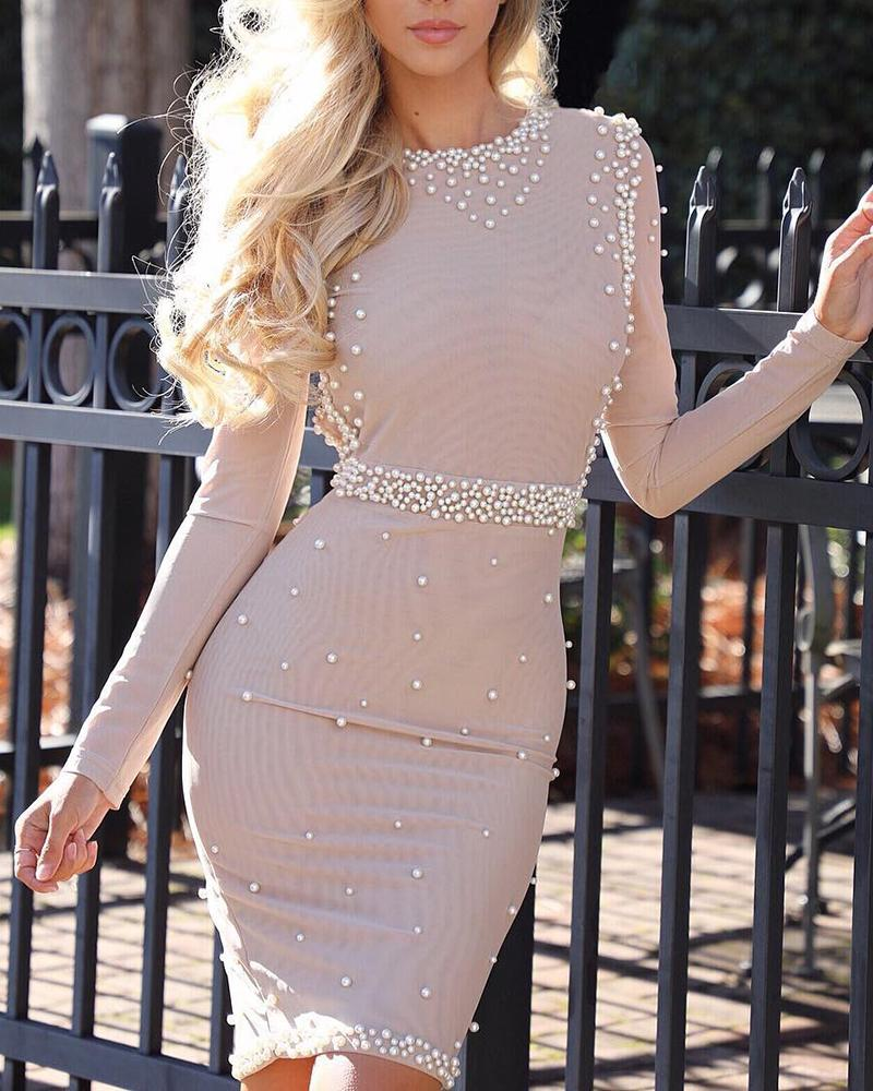 Beaded Design Long Sleeve Bodycon Dress