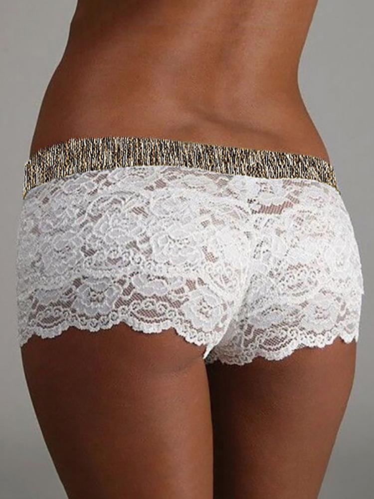 Seductive Women Splicing Lace Lingerie Shorts