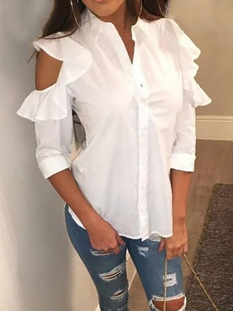 Ruffled Open Shoulder Casual Blouse