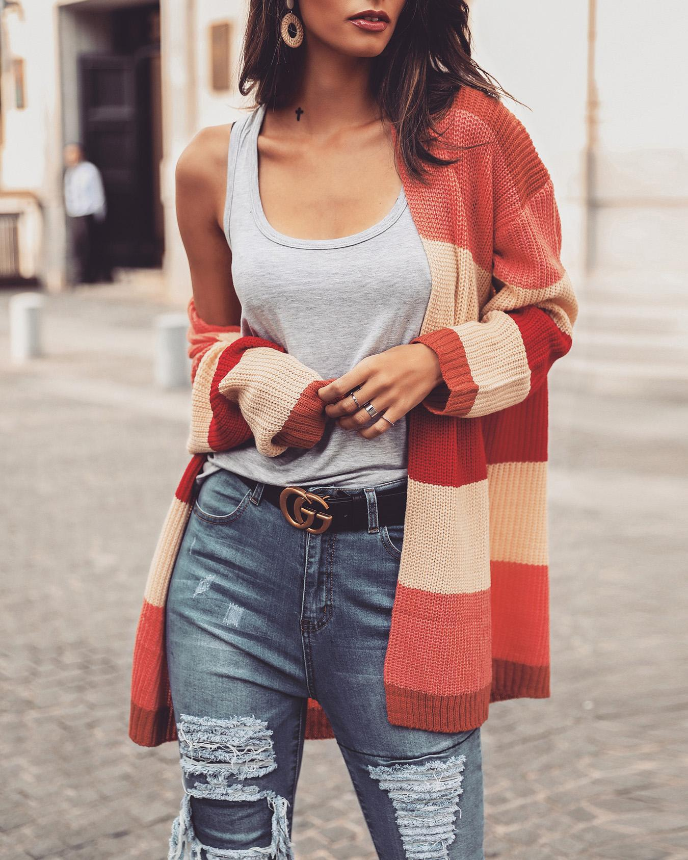 Rainbow Striped Open Front Casual Sweater