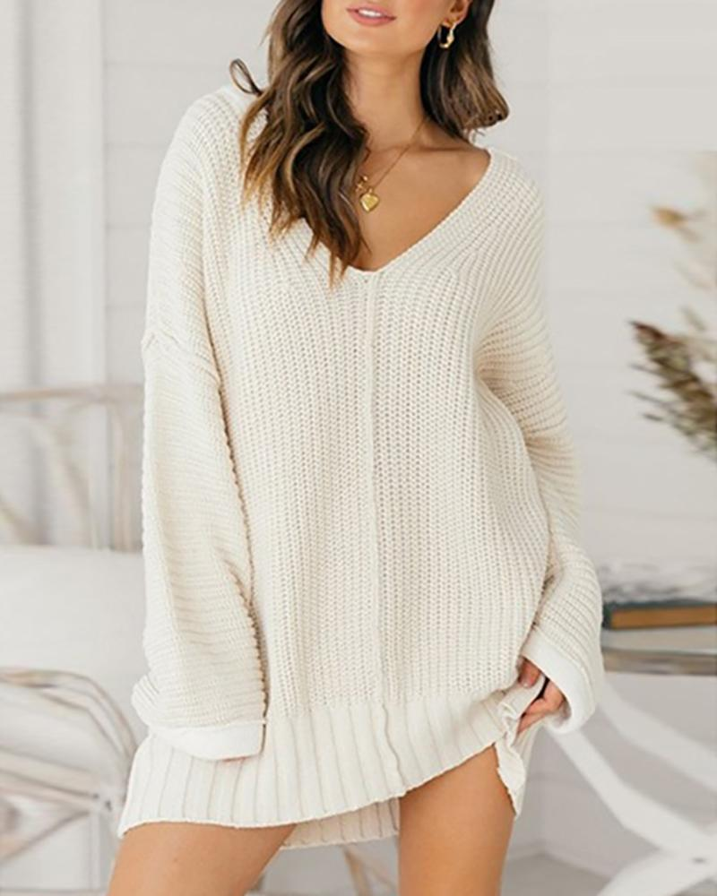 Long Sleeve Solid Knit Casual Dress фото