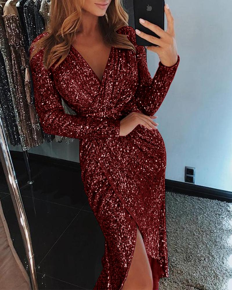 Wrap Ruched Irregular Sequin Party Dresses фото