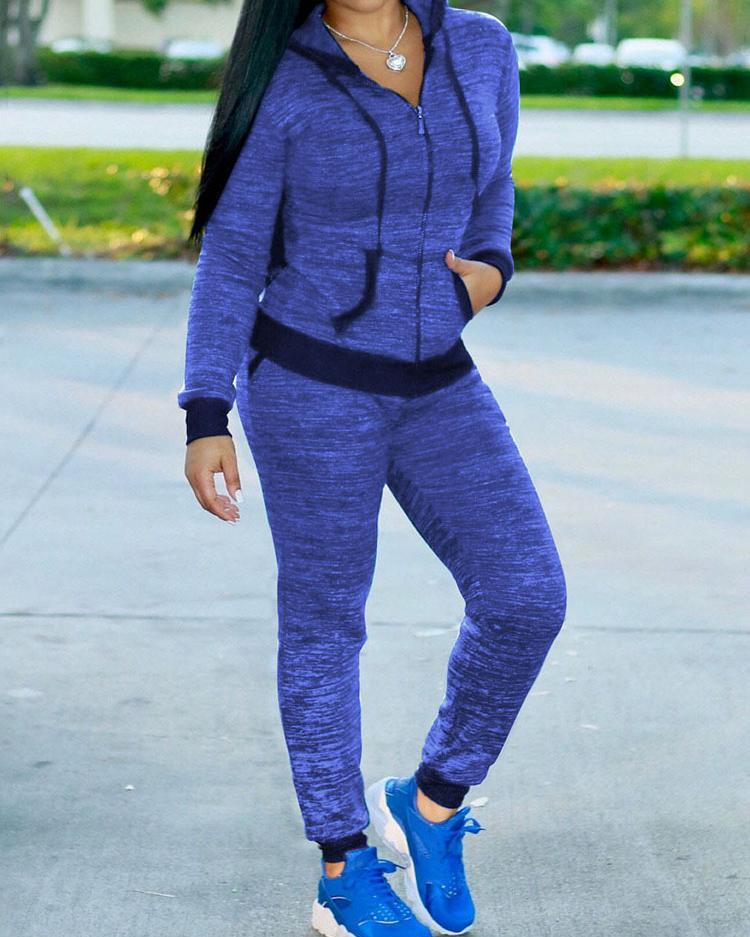 Trendy Zipper Up Hooded Casual Sportswear