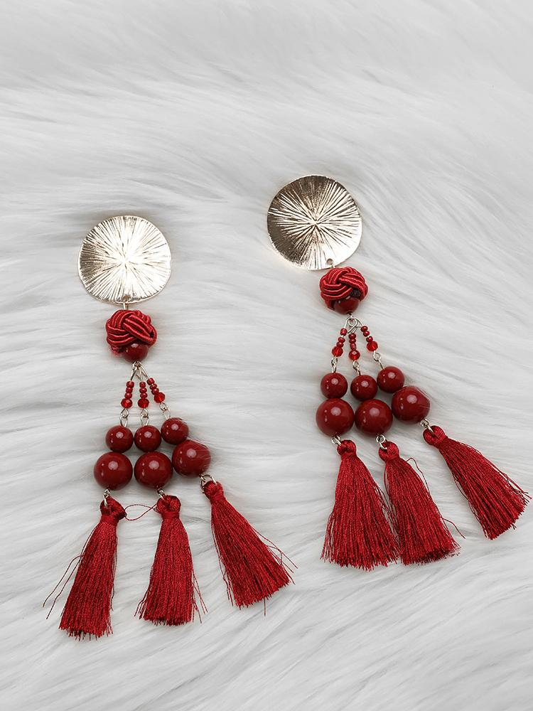 Exaggerated Boho Tassel Long Statement Earrings