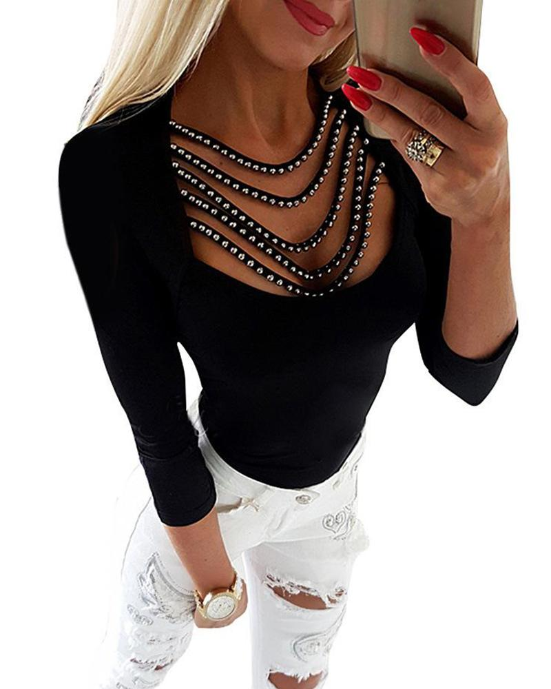 Rhinestone Tassel Embellished Neck Top фото