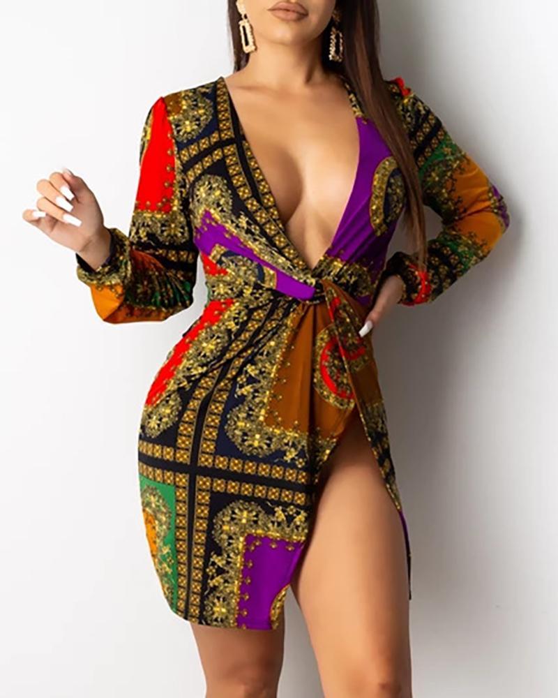 Mixed Print Deep V Slit Bodycon Dress фото