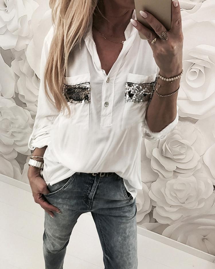 Contrast Sequins Dual Pocket Casual Blouses фото