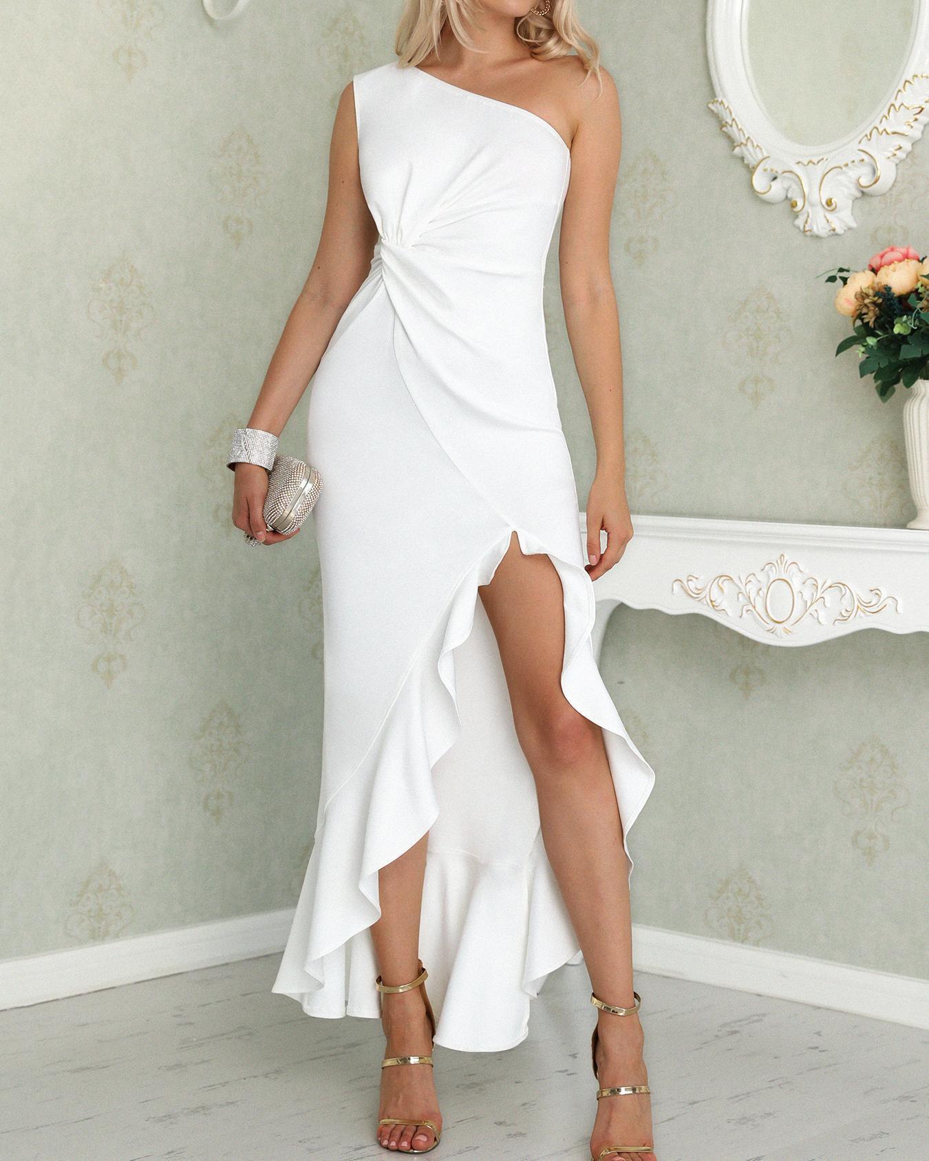 One Shoulder Twisted Ruffles Slit Hem Dress, White