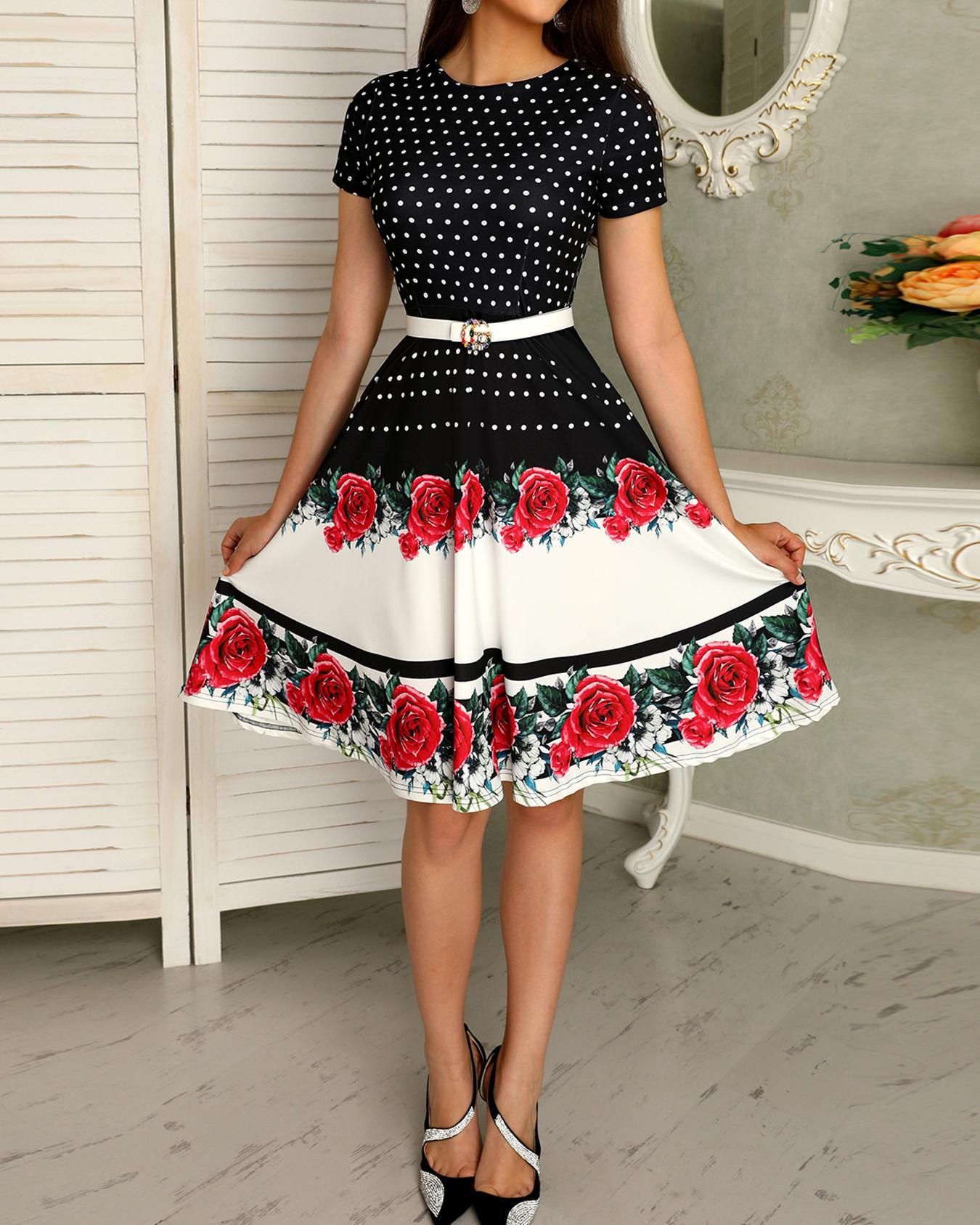 joyshoetique / Floral & Dot Print Short Sleeve Pleated Dress