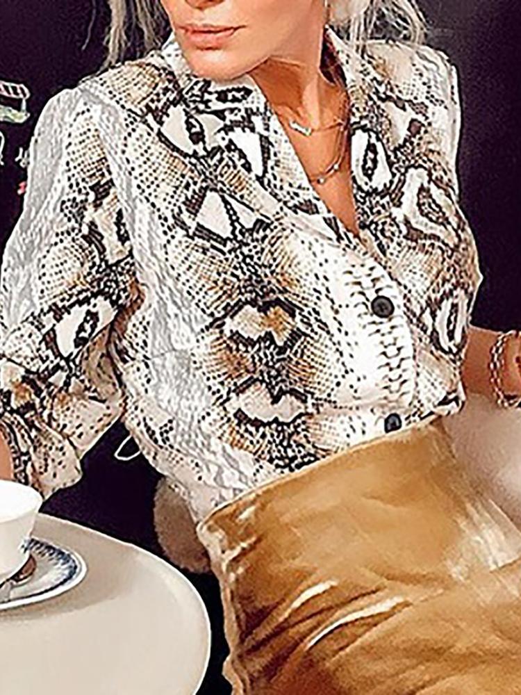 Snakeskin Print Long Sleeve Loose Blouse фото