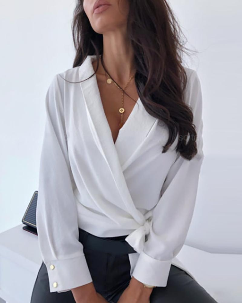 Solid Popper Sleeve Tied Blouse фото