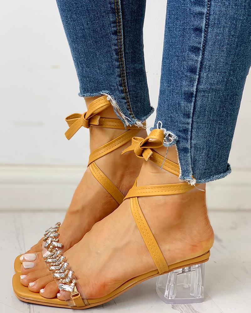 chicme / Studded Transparent Chunky Heeled Sandals