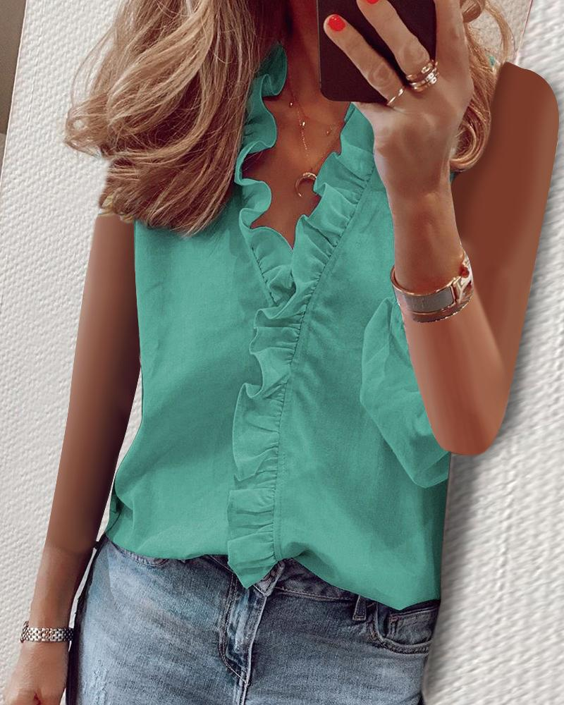 Solid Sleeveless Ruffles Casual Top фото
