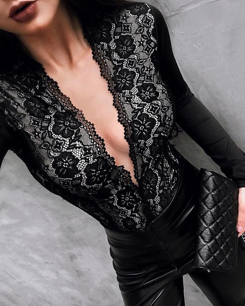 Long Sleeve Lace Insert Plunge Bodysuit