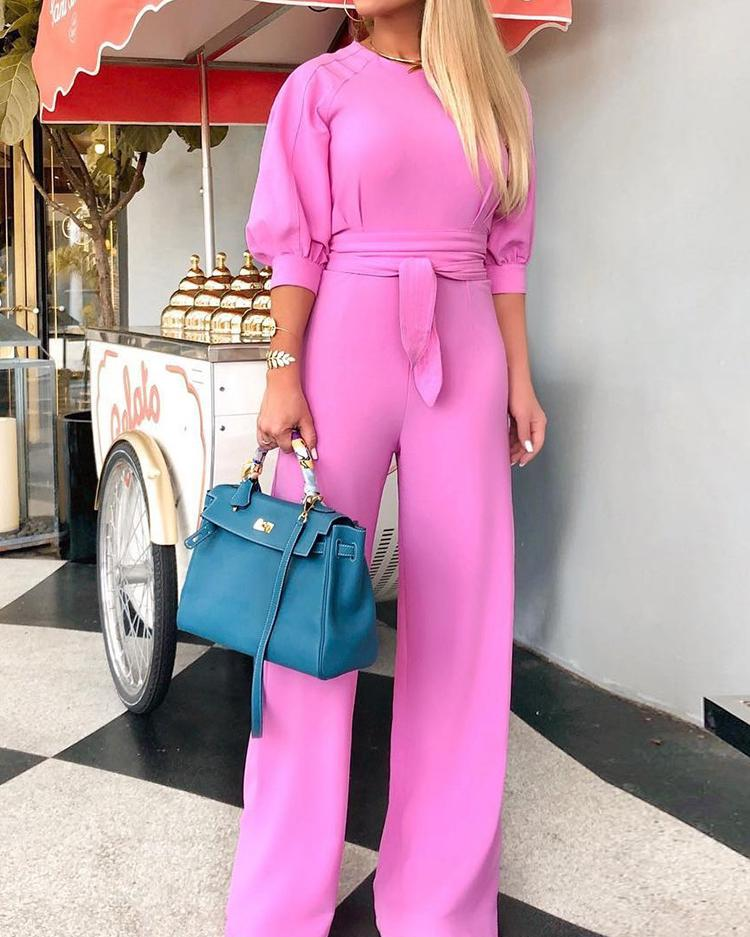 Solid Puff Sleeve Wide Leg Belted Jumpsuit, Pink