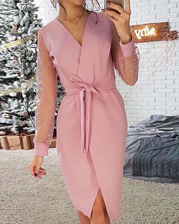 Mesh Sleeve Surplice Wrap Dress фото