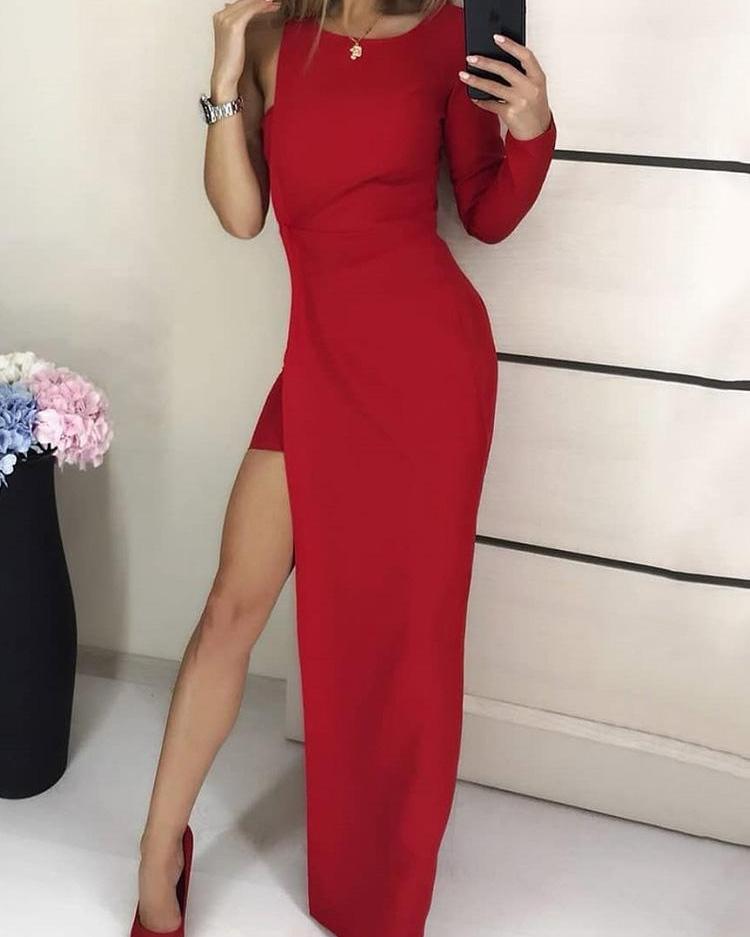 joyshoetique / One Sleeve High Slit Party Dress