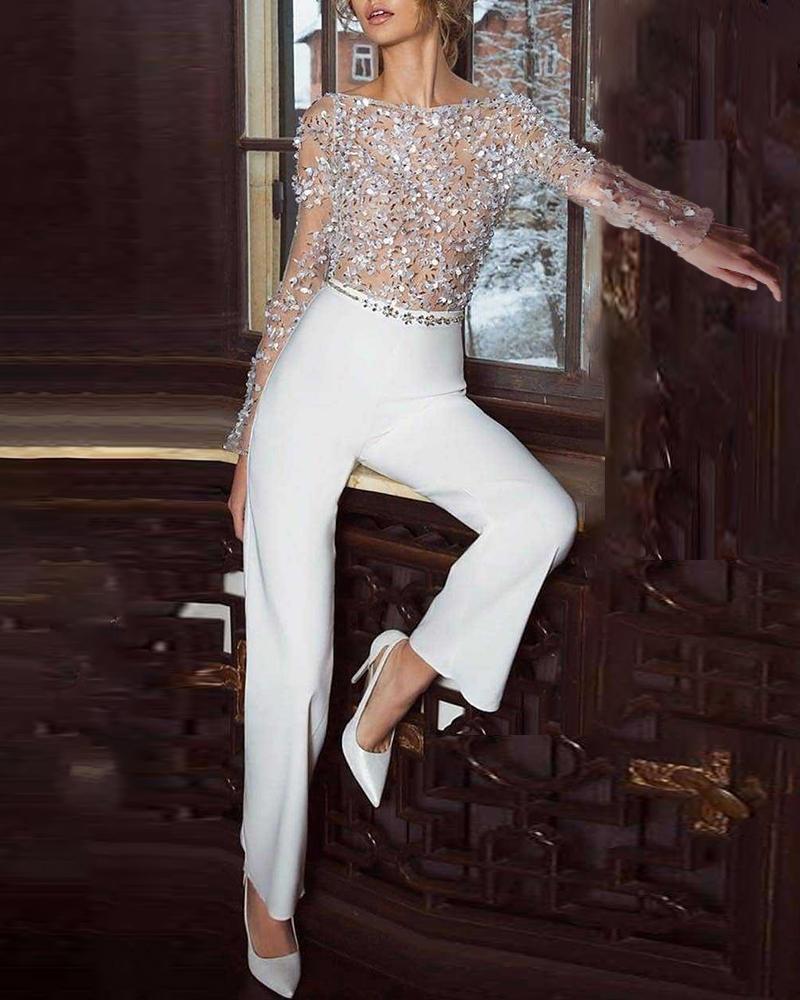 Glitter Semi Sheer Mesh Colorblock Jumpsuit фото
