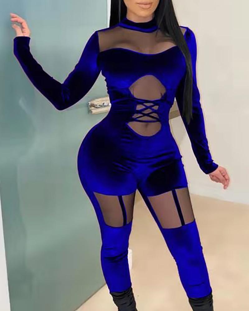 ivrose / Velvet Mesh Lace-Up Cut Out Jumpsuit