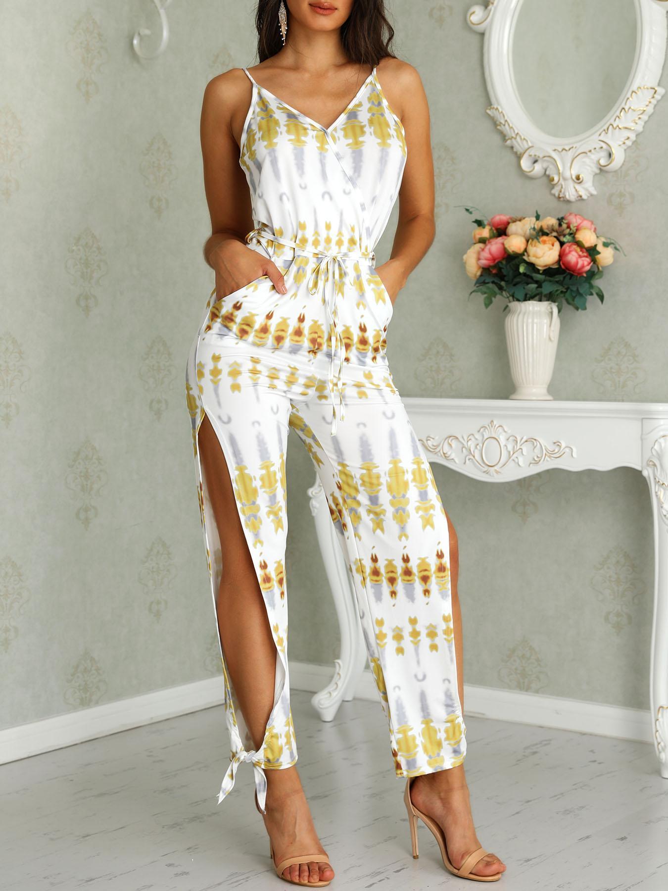 Tie Dye Print Spaghetti Strap Slit Leg Jumpsuit
