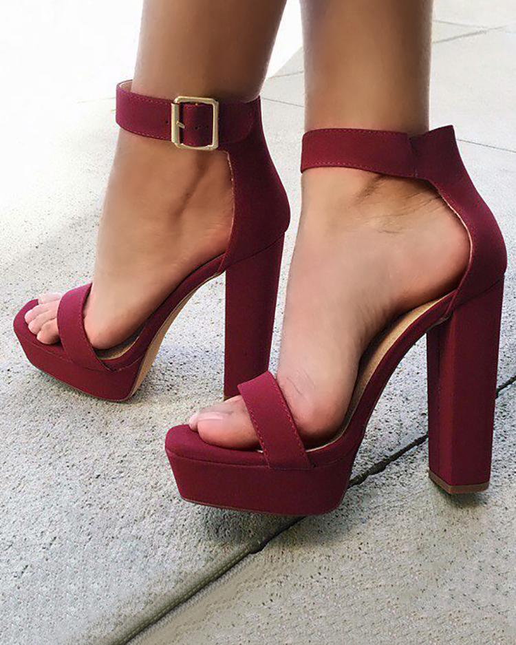 chicme / Sexy Open Toe Chunky Heeled Sandals