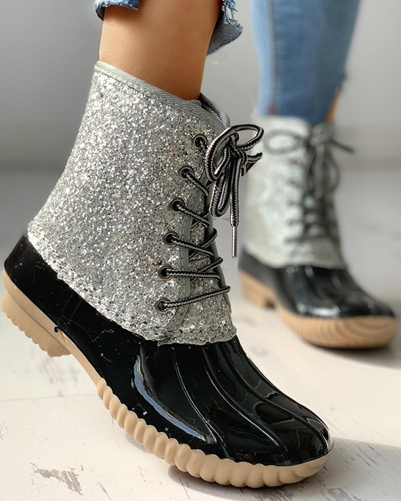 ivrose / Eyelet Lace-Up Sequins Flat Ankle Boots
