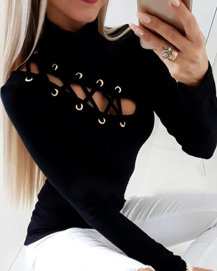 Eyelet Lace-up Hollow Out Blouse