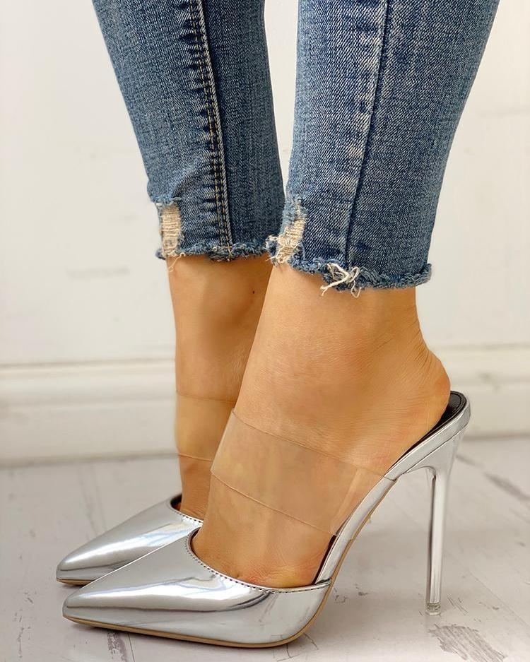 Transparent Strap Pointed Toe Thin Heels фото