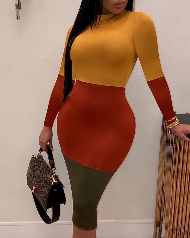 Colorblock Long Sleeve Bodycon Dress фото