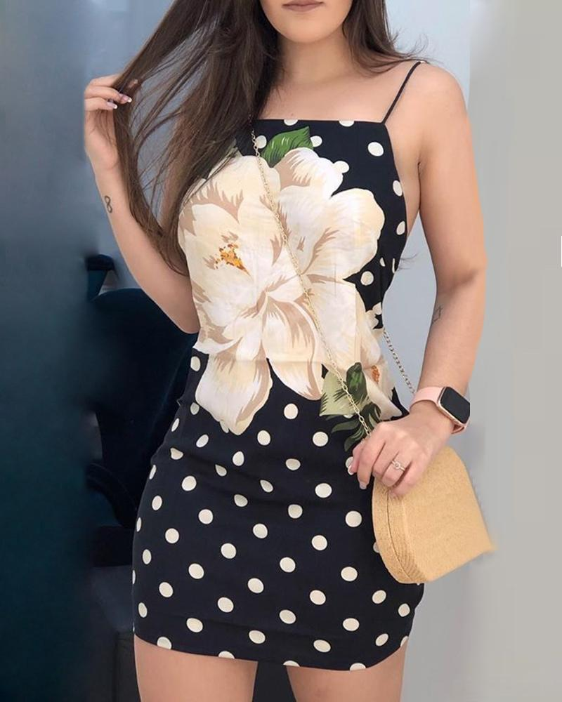 Dot Floral Print Spaghetti Strap Dress