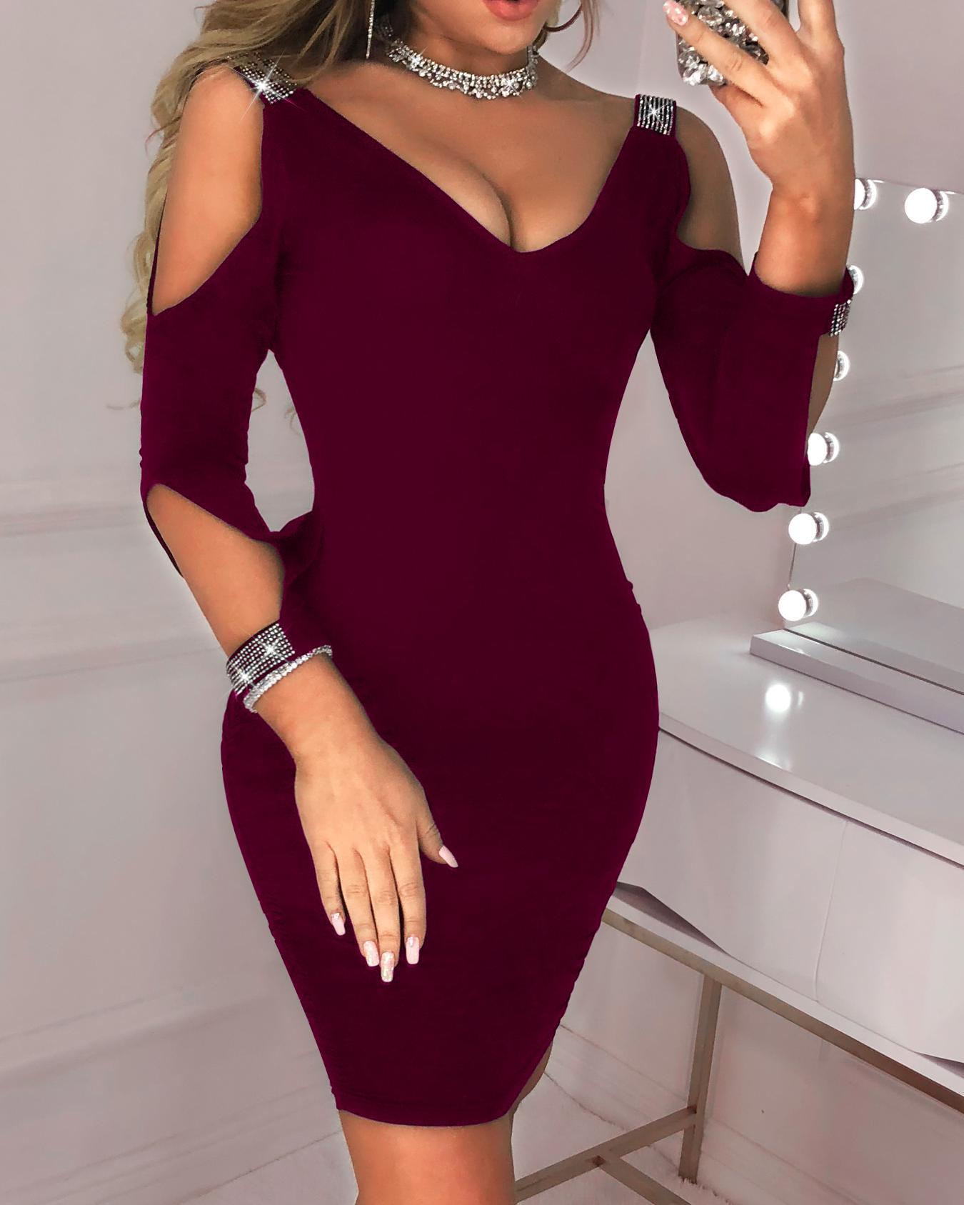 Cut Out Sleeve Glitter Splicing Bodycon Dress фото