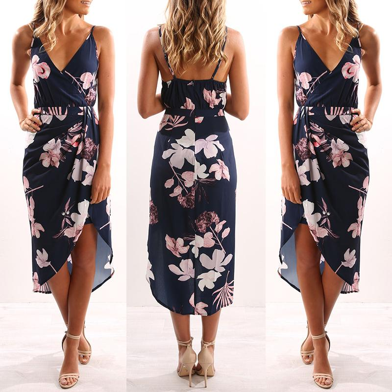 Asymmetric Floral Print Deep V Casual Slip Dress