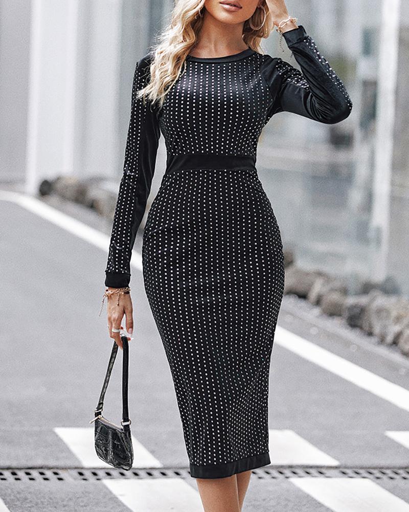 ivrose / Rayas vestido de fiesta de lentejuelas de manga larga vinculante