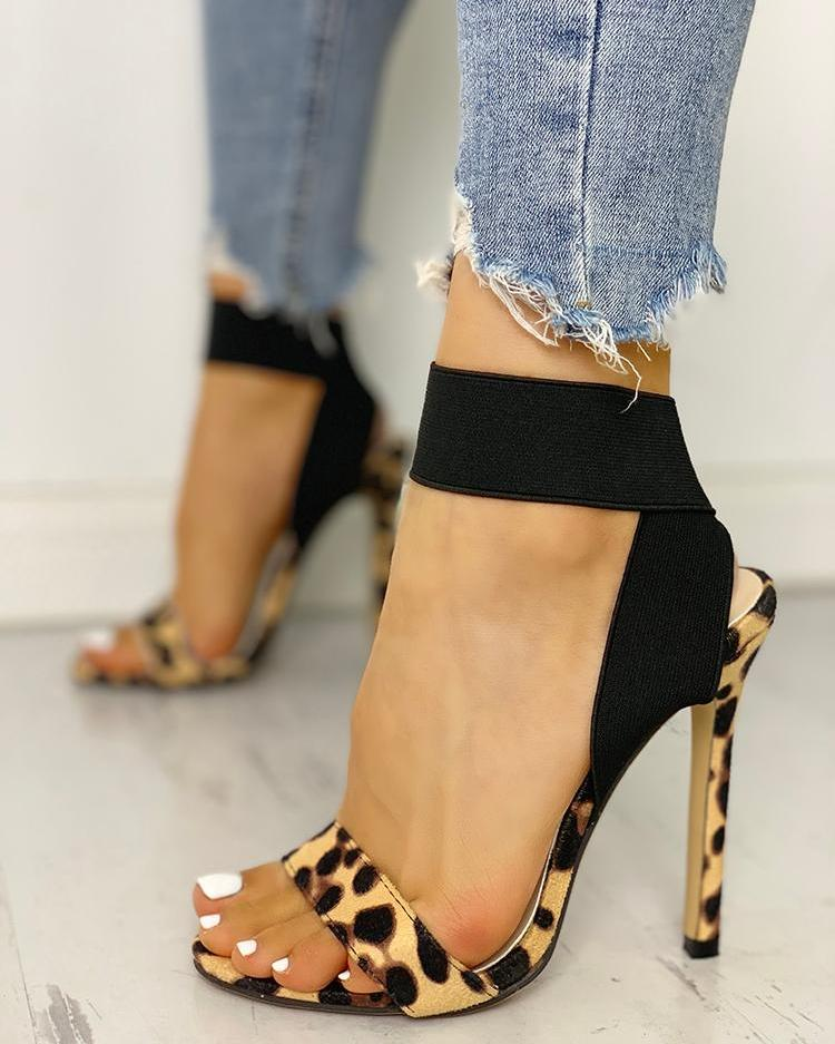 chicme / Leopard Single Strap Elastic Bandage Sandals