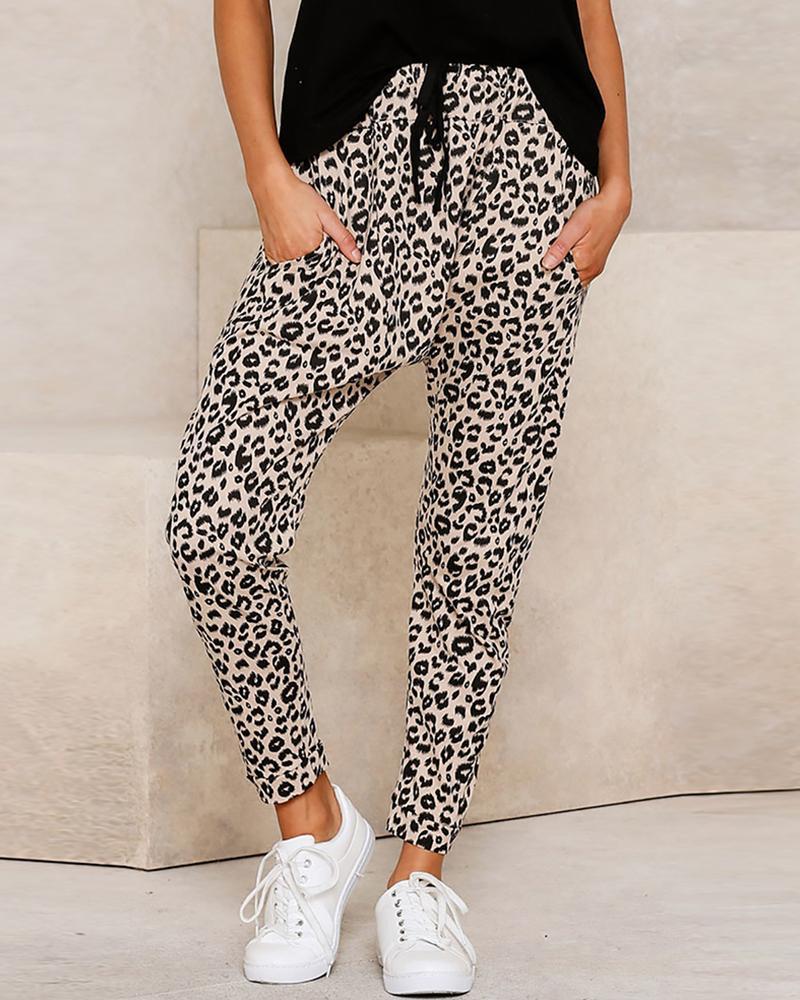 boutiquefeel / Pantalones casuales con diseño de bolsillo con estampado de leopardo