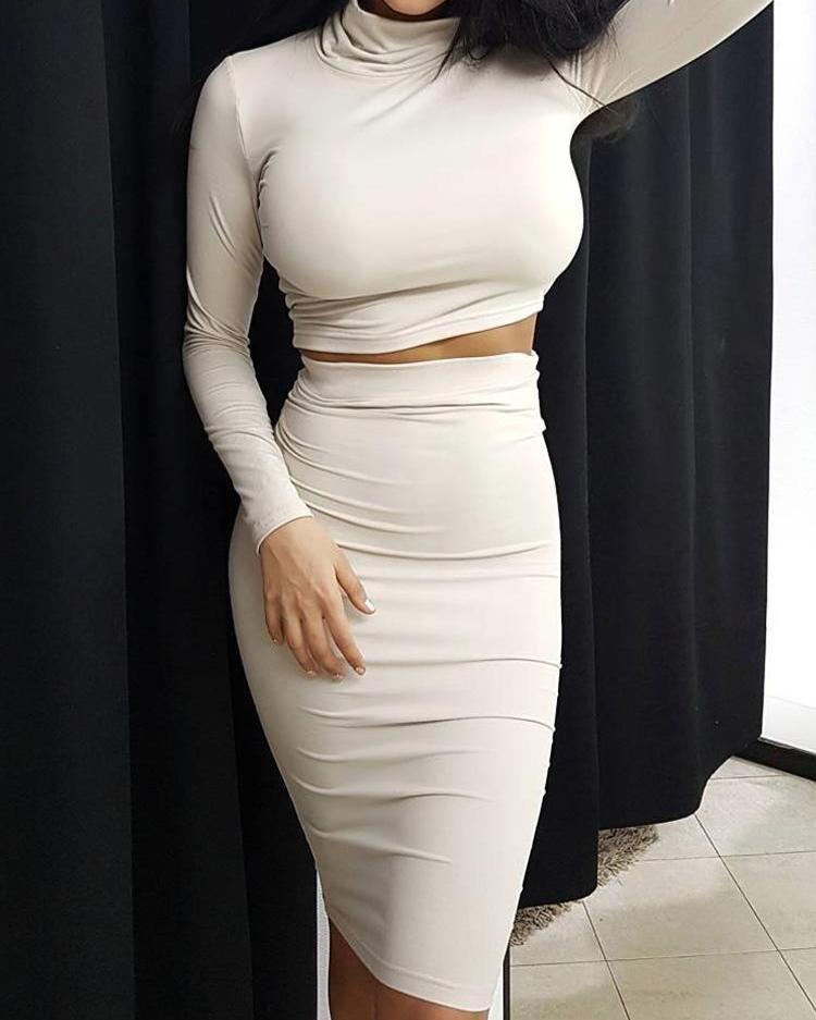 High Neck Crop Top & Midi Skirt Sets от ChicMe WW
