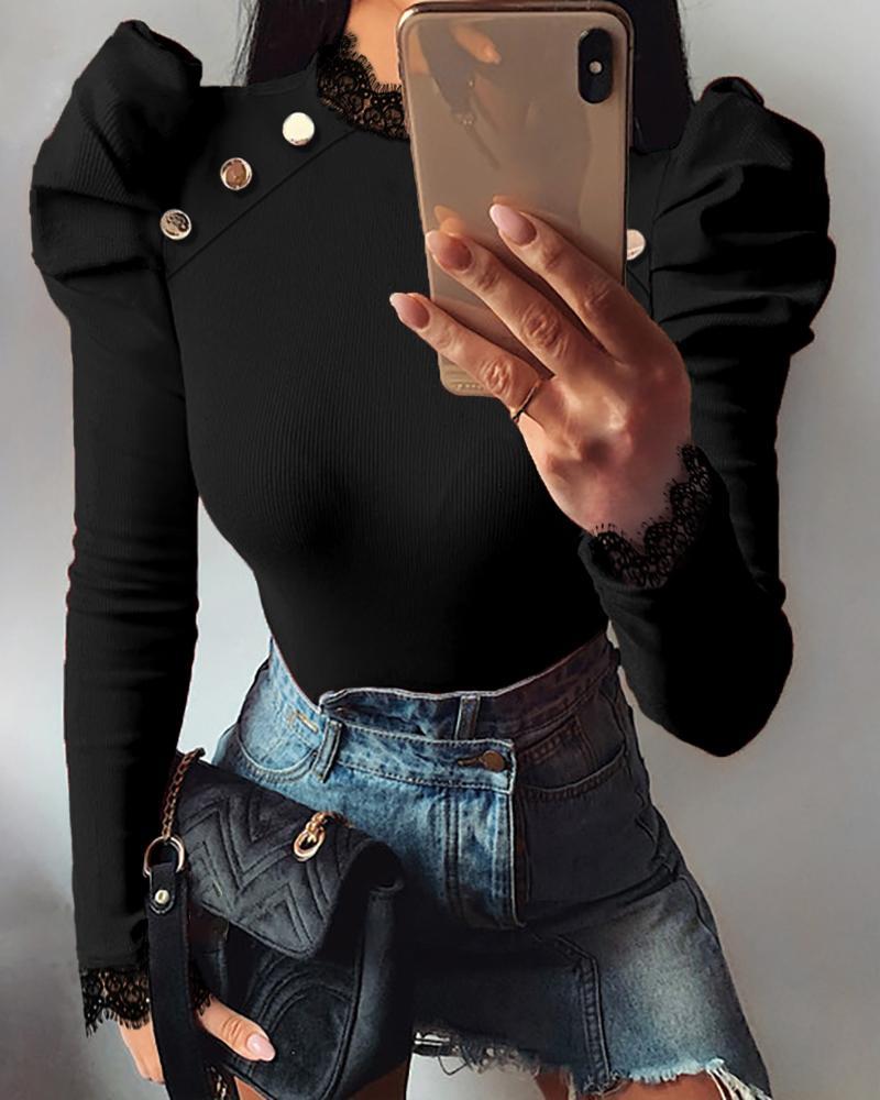 boutiquefeel / Blusa acanalada sólida de la manga hinchada