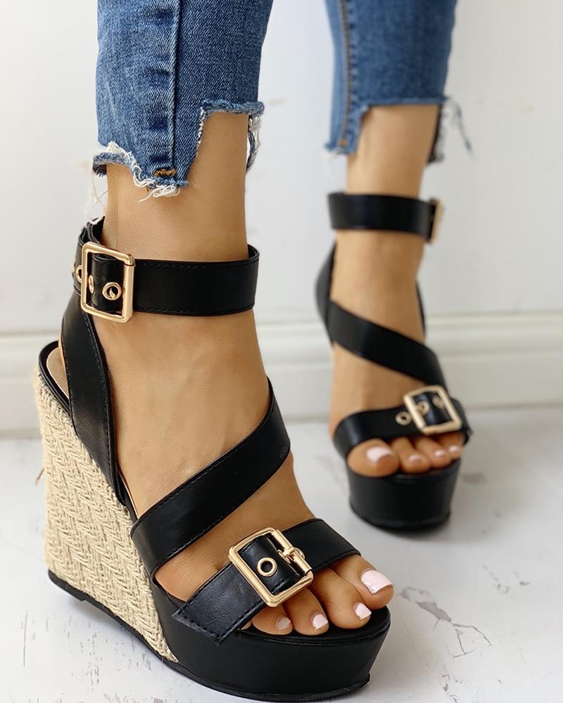 boutiquefeel / Buckled Detail Espadrille Wedge Sandals