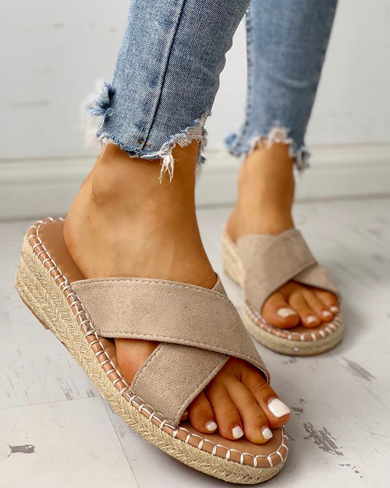 chicme / Sandálias de Espadrille com Design Cruzado