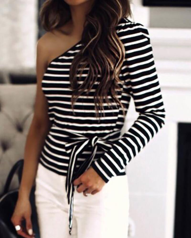 One Shoulder Colorblock Striped Long Sleeve Blouse фото