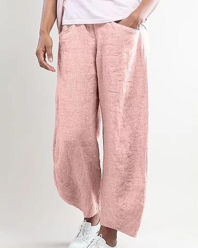 Solid Pocket Loose Long Pants фото